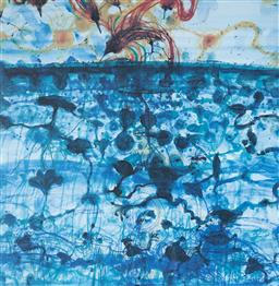 Sale 9112A - Lot 5029 - John Olsen (1928 - ) - Sunbird & Lily Pond, 1997 64 x 61.5 cm (frame: 93 x 84 x 4 cm)