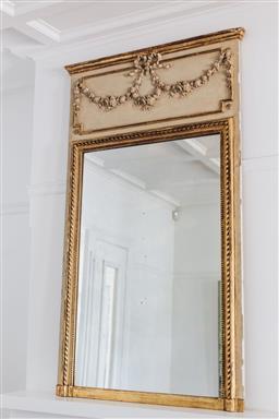 Sale 9200P - Lot 74 - An antique French giltwood over mantel trumeau mirror, Height 183cm x Width 125cm x Depth 6cm Depth Provenance; Collette Dinnigan'...