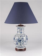Sale 8350L - Lot 6 - A pair of blue and white hand painted baluster lamps with navy shades, total H 63cm, RRP $ 680