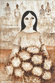 Sale 8443 - Lot 501 - Paco Gorospe (1939 - 2002) - Flower Vendor 90 x 60cm