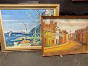 Sale 8441T - Lot 2087 - 2 Framed Oil on Boards; Street Scene & Lake Scene