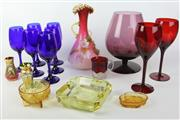 Sale 8463 - Lot 68 - Coloured Glass Decorative Vase with Other Glassware inc Ruby Wine Cups and Bohemia Amber Examples