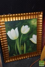 Sale 8509 - Lot 2064 - Artist Unknown, Tulips, acrylic on canvas, frame size 80 x 69cm, unsigned
