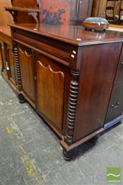 Sale 8520 - Lot 1016 - Late 19th Century Cedar Chiffonier, with frieze drawer, two shield panel doors & cotton reel columns (Key in Office)