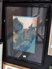 Sale 8587 - Lot 2074 - Japanese School - Cargo Crossing colour woodblock (AF), 33 x 22.5cm, inscribed