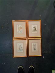 Sale 8627 - Lot 2006 - Set of (4 plates) Georgian London Fashion, handcoloured engravings, 38.5 x 30cm (frame sizes)