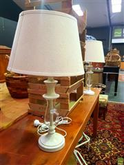 Sale 8648 - Lot 1030 - Pair of Glass & Timber Table Lamps