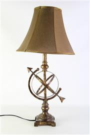Sale 8897 - Lot 7 - An Armillary sphere style table lamp with a bronze silk shade, total height 70cm