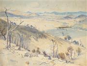 Sale 8938 - Lot 595 - Albert Henry Fullwood (1863-1930) - Stockman Droving, Peel Valley Near Tamworth, 1928 31.5 x 24 cm