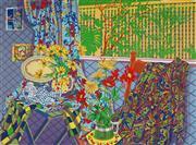Sale 9032A - Lot 5010 - Graham Marchant (1948 - ) - Studio Still Life with Paisley Cloth 75 x 105 cm (sheet)