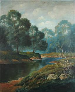 Sale 9116 - Lot 586 - Henry Press (1844 - 1920) A Bend of the Yarra River, c1890 oil on board 75 x 62 cm (frame: 102 x 89 x 4 cm) initialled lower right