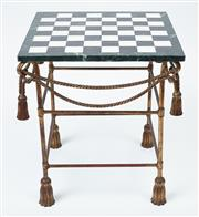 Sale 9080J - Lot 37 - A vintage gilt brass occasional table, the removable top in the form of a chess board in black, white and dark green marble on a rib...