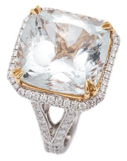 Sale 9115 - Lot 389 - AN 18CT WHITE GOLD MORGANITE AND DIAMOND RING; claw set with a cushion cut morganite of approx. 14ct to surround, gallery and open s...