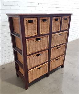 Sale 9121 - Lot 1024 - Timber chest of ten wicker drawers (h:125 w:110 d:48cm)