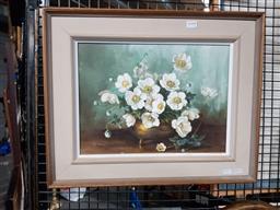 Sale 9155 - Lot 2047A - K. Bodeen  Still Life - Flowers, oil on canvas board, frame: 44 x 53 cm, signed lower left -
