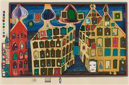 Sale 9195 - Lot 601 - FREIDENSREICH HUNDERTWASSER (1928 - 2000) - It hurts to wait with love if love is somewhere else, 1968 43 x 63 cm (frame: 71 x 91...