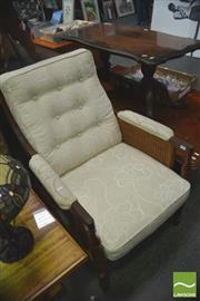 Sale 8406 - Lot 1054 - Pair of Armchairs w Rattan Sides