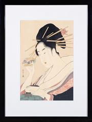 Sale 8550H - Lot 43 - Chobunsai Eishi 1756–1829 - Geisha image size H 36 x W 24cm