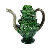 Sale 8586A - Lot 14 - A rare antique majolica Palissy ware snake and cabbage leaf teapot, professional restoration to leaf tips and spout, 25 x 26cm
