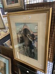 Sale 8895 - Lot 2026 - Artist Unknown - Saddling 72 x 54cm (frame) unsigned lower left