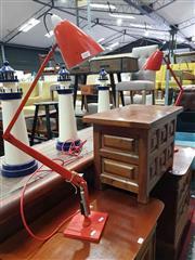 Sale 8934 - Lot 1015 - Pair of Orange Planet Lamps