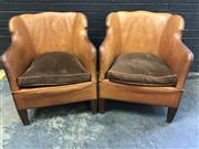 Sale 9039 - Lot 1092 - Pair of Art Deco Club Chairs in Mustard Leather (h:74cm)