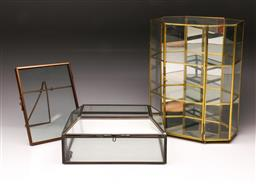 Sale 9110 - Lot 95 - A leadlight framed jewellery box together with a mirrored miniature display case and picture frame