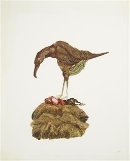 Sale 9191H - Lot 40 - SIDNEY NOLAN (1917 - 1992) - Untitled, c1982 (Preyer on Nest) 74 x 60 cm