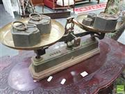 Sale 8428 - Lot 1003 - Brass Set of Kitchen Scales with Hexagonal Weights