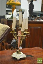 Sale 8444 - Lot 1065 - French Brass and Marble Lamp, with three branches & four candle lights