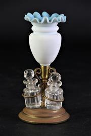 Sale 8887 - Lot 20 - Blue Milk Glass Vase Topped Miniature Decanter Set height 13cm