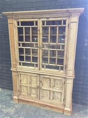 Sale 8976 - Lot 1024 - Antique Style Pine Dresser/ Cabinet, with two astragal doors & two quartered timber panel doors below, flanked by pilasters (h:187 X...