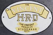 Sale 8988 - Lot 1005 - Cast Iron Vincent Sign (H: 20 x W: 29.5cm)