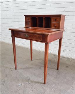 Sale 9121 - Lot 1053 - Burr walnut ladies desk (h:97 w:72 d:53cm)