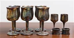 Sale 9140H - Lot 50 - A set of six FX & R plated goblets, two strachan goblets and napkin rings