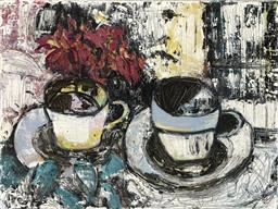 Sale 9174JM - Lot 5091 - JODY ROSEN Tea Cups & Flowers oil on canvas 45 x 60.5 cm unsigned