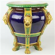 Sale 8399 - Lot 83 - Minton Majolica Cobalt Blue Glazed Jardinière