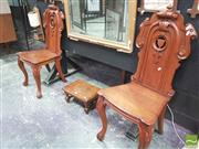 Sale 8428 - Lot 1019 - Pair of Victorian Carved Oak Hall Chairs