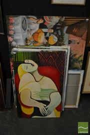 Sale 8487 - Lot 2053 - Group of (7) Acrylic Paintings After European Artists, various sizes