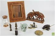 Sale 8496 - Lot 5 - Anglo Indian Carved Frame Together With Timber And Crystal Elephant Brassware And Copper Coffee Holder