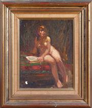 Sale 8550H - Lot 96 - Paul L Pratt - Nude Reading 24.5 x 19cm