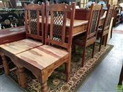 Sale 8580 - Lot 1094 - Seven Piece Dining Setting with Table and Six Chairs (76 x 184 x 91cm)