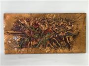 Sale 8600A - Lot 74 - A c. 1970s signed piece of copper wall art, H 30 x W 61cm.