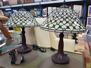 Sale 8637 - Lot 1035 - Pair of Leadlight Shade Table Lamps