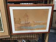 Sale 8711 - Lot 2030 - Andrew Park - Countryscape with Cottage watercolour, 36 x 48cm, signed lower left