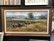 Sale 8807 - Lot 2086 - Niyom - Paddy Harvesting acrylic on board, 70 x 120cm (frame), signed lower