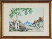 Sale 8838A - Lot 5140 - Gabriella Wallace (1945 - ) - Central Australian Landscape 23 x 34cm