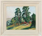 Sale 8855H - Lot 302 - Thomas Challen, Landscape, oil on board, 40 x 50cm, SLR, inscribed and titled verso, Exhibited Wynne Prize
