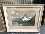 Sale 8861 - Lot 2048 - Artist Unknown, Milford Sound NZ water colour & gouche, 44 x 54cm, initialled C.N lower left