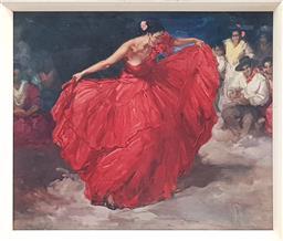 Sale 9117 - Lot 1064 - A Retro Print Red Skirt by Francisco Rodríguez Clement, 56 x 66cm
